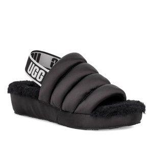UGG fluff yeah satin sling bag black shoes